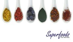 Superfoods dans des cuillères de porcelaine Photos libres de droits
