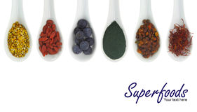 Superfoods in den Porzellanlöffeln lizenzfreie stockfotos