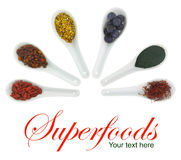 Superfoods em colheres da porcelana Imagem de Stock Royalty Free