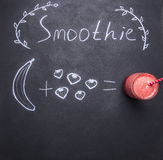 Superfoods and health or detox diet food concept, drawn in chalkboard on a chalk board ingredients smoothies, top view Royalty Free Stock Photography