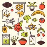 Superfoods koloru linii ikony ilustracja wektor