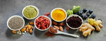 Superfoods panoramic banner for a healthy diet Royalty Free Stock Image