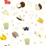 Superfoods pattern. Vector EPS 10 hand drawn seamless pattern Royalty Free Stock Photos