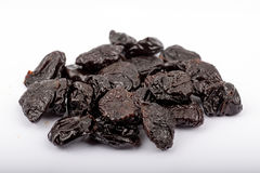 Superfoods - Pitted Prunes on a white background royalty free stock photography