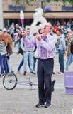 Superfrank ο εκτελεστής οδών στο τετράγωνο φραγμάτων, Άμστερνταμ, Κάτω Χώρες Στοκ εικόνα με δικαίωμα ελεύθερης χρήσης