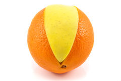 Superfruit - apple and orange Royalty Free Stock Photo