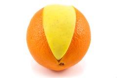 Superfruit - apple and orange. Combination royalty free stock photo