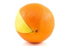 Superfruit - apple and orange. Combination royalty free stock photos