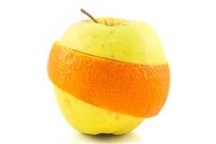 Superfruit - apple and orange combination. Combination stock photos