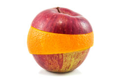 Superfruit - roter Apfel und Orange stockbild