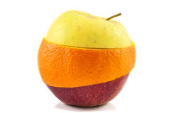 Superfruit - yellow apple, red apple and orange. Superfruit - yellow and red apple and orange combination royalty free stock photos