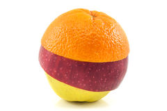 Superfruit - yellow apple, red apple and orange. Superfruit - yellow and red apple and orange combination stock image