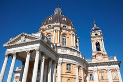 Superga basilica on Turin hills in a sunny day in Italy, low angle view. Superga basilica on Turin hills in a sunny summer day in Italy, low angle view stock image
