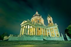 Superga church in turin. Superga church on a hill in turin with columns Royalty Free Stock Image