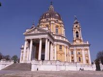 Superga i turin Italien Arkivfoto