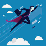 Supergeschäftsmann Flying High Stockfoto