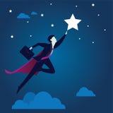 Supergeschäftsmann Reaching Star Stockbild