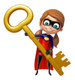 Supergirl avec la clé Images stock