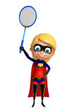 Supergirl with  Badminton. 3d rendered illustration of supergirl with Badminton Royalty Free Stock Photography