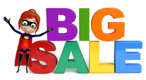 Supergirl with  Big sale sign. Supergirl with Big sale sign Royalty Free Stock Photo