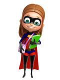 Supergirl with  Book and schoolbag Royalty Free Stock Image
