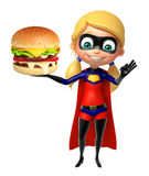 Supergirl with Burger Royalty Free Stock Photos