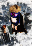 Supergirl Character Flying. Illustration of the Supergirl character flying on top of the city of Metropolis. Daily Planet newspaper and Luthor corporation Royalty Free Stock Photo