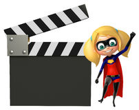 Supergirl with Clapper board Royalty Free Stock Image