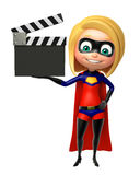 Supergirl with Clapper board Royalty Free Stock Photography
