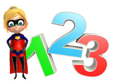 Supergirl com sinal 123 Imagens de Stock Royalty Free