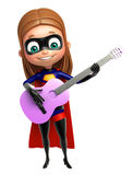 Supergirl with Guitar Royalty Free Stock Images