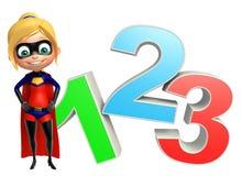 Supergirl med tecken 123 Royaltyfria Bilder