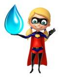Supergirl med vattendroppe vektor illustrationer