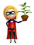 Supergirl with  Plant Royalty Free Stock Photo