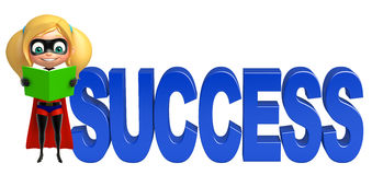 Supergirl with Success sign. 3d rendered illustration of supergirl with Success sign Stock Photography