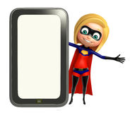 Supergirl with Tab; Royalty Free Stock Image