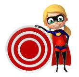 Supergirl with Target board. 3d rendered illustration of supergirl with Target board Stock Photography