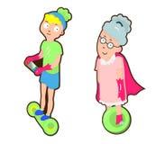 Supergroßmutterfahrt ein gyroscooter mit ihrem Enkel stock abbildung