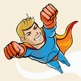 supergullig hjälte för tecknad filmtecken Arkivbild