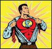 Superguy with Pound symbol. Superhero changing with Pound symbol vector illustration