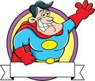 Superhéroe de la historieta con una bandera Foto de archivo libre de regalías