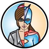 Superhéroe de la mujer del alter ego Imagen de archivo libre de regalías