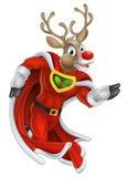 Superhéroe del reno de la Navidad Foto de archivo libre de regalías