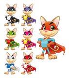 Superhéroe divertido del gato. ilustración del vector