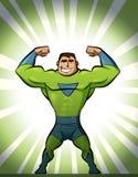 Superhéroe en traje en fondo verde Imagen de archivo