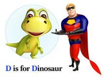 Superhéros dirigeant le dinosaure Photo libre de droits