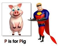 Superhéros dirigeant le porc illustration libre de droits
