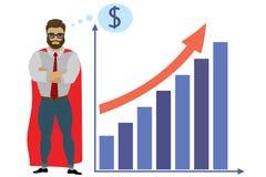 Superhéros et échelle de croissance d'homme d'affaires illustration de vecteur