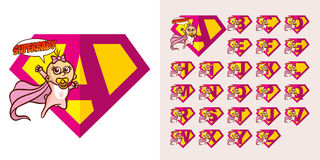 Superhéros Logo Letters Supehero Alphabet illustration stock