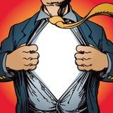 Superheld-Öffnungs-Hemd Lizenzfreies Stockfoto